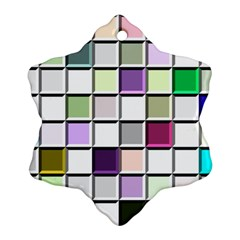 Color Tiles Abstract Mosaic Background Snowflake Ornament (two Sides)