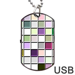 Color Tiles Abstract Mosaic Background Dog Tag Usb Flash (one Side)