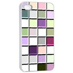 Color Tiles Abstract Mosaic Background Apple iPhone 4/4s Seamless Case (White)