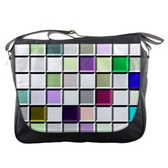 Color Tiles Abstract Mosaic Background Messenger Bags