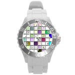Color Tiles Abstract Mosaic Background Round Plastic Sport Watch (L) Front