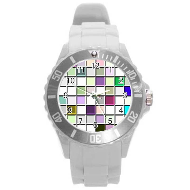 Color Tiles Abstract Mosaic Background Round Plastic Sport Watch (L)