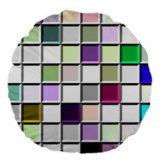 Color Tiles Abstract Mosaic Background Large 18  Premium Round Cushions