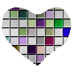 Color Tiles Abstract Mosaic Background Large 19  Premium Heart Shape Cushions