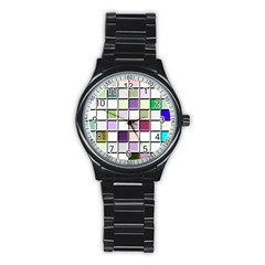 Color Tiles Abstract Mosaic Background Stainless Steel Round Watch