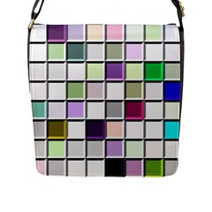 Color Tiles Abstract Mosaic Background Flap Messenger Bag (l)