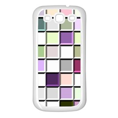 Color Tiles Abstract Mosaic Background Samsung Galaxy S3 Back Case (white)