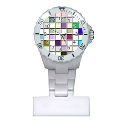 Color Tiles Abstract Mosaic Background Plastic Nurses Watch