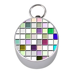 Color Tiles Abstract Mosaic Background Mini Silver Compasses