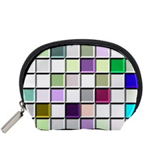 Color Tiles Abstract Mosaic Background Accessory Pouches (Small)