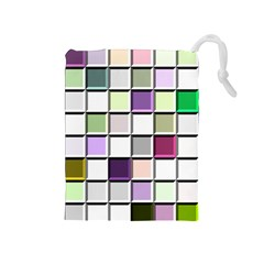 Color Tiles Abstract Mosaic Background Drawstring Pouches (Medium)