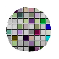 Color Tiles Abstract Mosaic Background Standard 15  Premium Flano Round Cushions