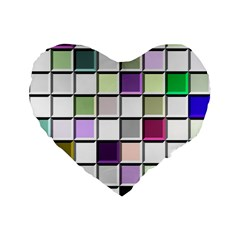 Color Tiles Abstract Mosaic Background Standard 16  Premium Flano Heart Shape Cushions