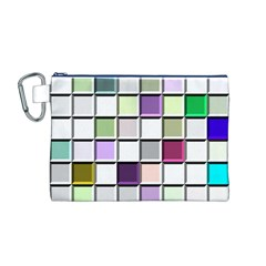 Color Tiles Abstract Mosaic Background Canvas Cosmetic Bag (m)