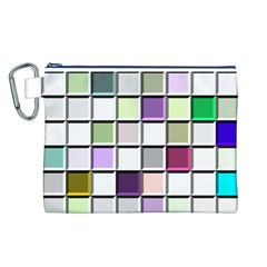 Color Tiles Abstract Mosaic Background Canvas Cosmetic Bag (L)