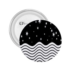 Black And White Waves And Stars Abstract Backdrop Clipart 2.25  Buttons