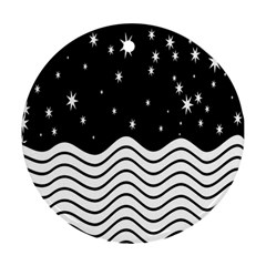 Black And White Waves And Stars Abstract Backdrop Clipart Ornament (Round)
