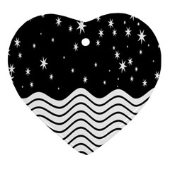 Black And White Waves And Stars Abstract Backdrop Clipart Ornament (heart)