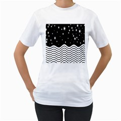 Black And White Waves And Stars Abstract Backdrop Clipart Women s T-Shirt (White) (Two Sided)