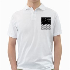 Black And White Waves And Stars Abstract Backdrop Clipart Golf Shirts