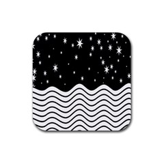 Black And White Waves And Stars Abstract Backdrop Clipart Rubber Square Coaster (4 pack)