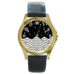 Black And White Waves And Stars Abstract Backdrop Clipart Round Gold Metal Watch