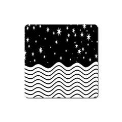 Black And White Waves And Stars Abstract Backdrop Clipart Square Magnet