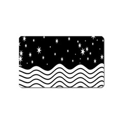 Black And White Waves And Stars Abstract Backdrop Clipart Magnet (name Card)