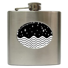 Black And White Waves And Stars Abstract Backdrop Clipart Hip Flask (6 oz)