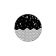 Black And White Waves And Stars Abstract Backdrop Clipart Golf Ball Marker (4 pack)