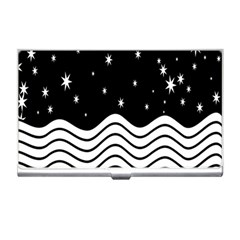 Black And White Waves And Stars Abstract Backdrop Clipart Business Card Holders