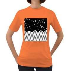 Black And White Waves And Stars Abstract Backdrop Clipart Women s Dark T Shirt