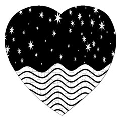 Black And White Waves And Stars Abstract Backdrop Clipart Jigsaw Puzzle (Heart)
