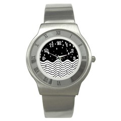 Black And White Waves And Stars Abstract Backdrop Clipart Stainless Steel Watch