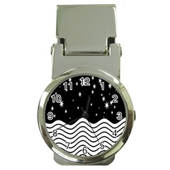 Black And White Waves And Stars Abstract Backdrop Clipart Money Clip Watches
