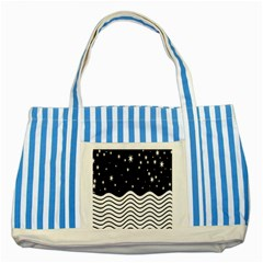 Black And White Waves And Stars Abstract Backdrop Clipart Striped Blue Tote Bag