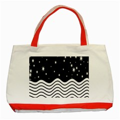 Black And White Waves And Stars Abstract Backdrop Clipart Classic Tote Bag (Red)