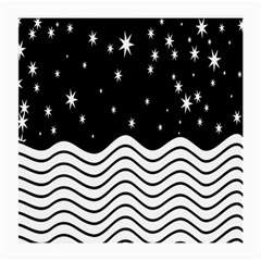 Black And White Waves And Stars Abstract Backdrop Clipart Medium Glasses Cloth (2 Side)