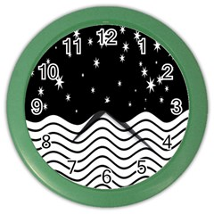 Black And White Waves And Stars Abstract Backdrop Clipart Color Wall Clocks