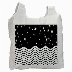 Black And White Waves And Stars Abstract Backdrop Clipart Recycle Bag (one Side)