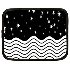 Black And White Waves And Stars Abstract Backdrop Clipart Netbook Case (xxl)