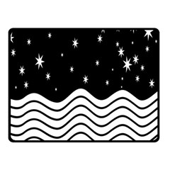 Black And White Waves And Stars Abstract Backdrop Clipart Fleece Blanket (small)