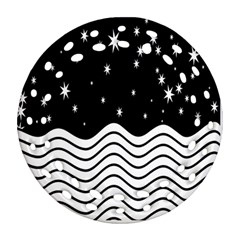 Black And White Waves And Stars Abstract Backdrop Clipart Ornament (Round Filigree)