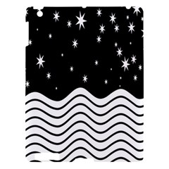 Black And White Waves And Stars Abstract Backdrop Clipart Apple iPad 3/4 Hardshell Case