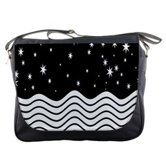 Black And White Waves And Stars Abstract Backdrop Clipart Messenger Bags