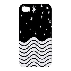 Black And White Waves And Stars Abstract Backdrop Clipart Apple iPhone 4/4S Premium Hardshell Case