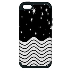 Black And White Waves And Stars Abstract Backdrop Clipart Apple iPhone 5 Hardshell Case (PC+Silicone)