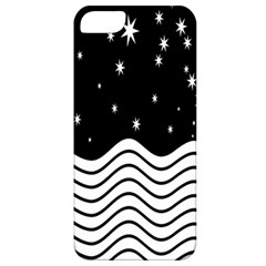 Black And White Waves And Stars Abstract Backdrop Clipart Apple iPhone 5 Classic Hardshell Case