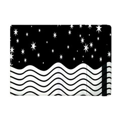 Black And White Waves And Stars Abstract Backdrop Clipart Apple iPad Mini Flip Case