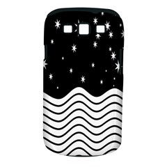 Black And White Waves And Stars Abstract Backdrop Clipart Samsung Galaxy S III Classic Hardshell Case (PC+Silicone)